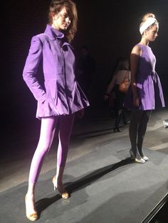 Lilac Dreams  On the left: Organic Lilac Shooting Star Coat  On the right: Organic Velvet Starshine Fit and Flare Dress