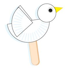 Cut a six-inch white paper plate in half. Set one piece aside for the body and cut the other piece in half to form wings. Cut out a white construction paper head and a yellow construction paper beak. Glue the parts together as shown, adding a wiggle eye to the head. Complete the puppet by taping or gluing a large craft stick to the back of the body