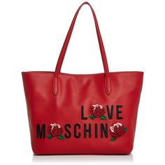 Love Moschino Love Leather Tote ($290) ❤ liked on Polyvore featuring bags, handbags, tote bags, red tote, leather tote handbags, leather totes, leather purses and red leather purse