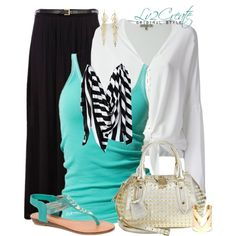 Teal, Black & White, created by lv2create on Polyvore