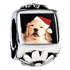 Puppy Santa Photo Flower Charms  Fit pandora,trollbeads,chamilia,biagi,soufeel and any customized bracelet/necklaces. #Jewelry #Fashion #Silver# handcraft #DIY #Accessory