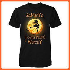 Samaiya Loves Being Witchy. Halloween Gift - Unisex Tshirt Black 4XL - Holiday and seasonal shirts (*Partner-Link)