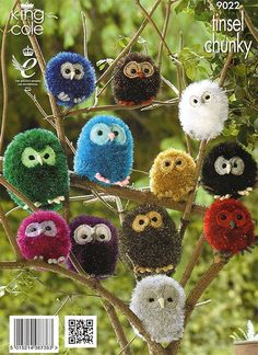 Create a whole family of these adorable cuddly knit owls using Tinsel Chunky yarn by King Cole.