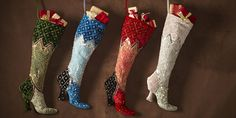 My kind of stockings! A Christmas Story, Holiday Fun, Christmas Holidays, Luxury Holiday, Christmas Goodies, Christmas Crafts Sewing, Holiday Crafts, Sewing Crafts, Jingle All The Way