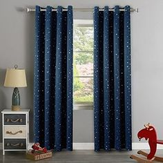 H.Versailtex Silver Stars in Navy Sky Pattern Thermal Insulated 80% blackout Curtains for boy's Room,Grommet Top,Set of 1 panel, W52 x L96 inch