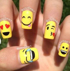 Cool Nail Art Interest With Emoji Nails at Cute 2017 Nail Designs Tips Nail Art Designs, Girls Nail Designs, Nails Design, Cartoon Nail Designs, Pedicure Designs, Cute Nail Art, Cute Nails, Pretty Nails, Nails For Kids