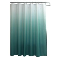 Creative Home Ideas Ombre Waffle Weave 70 in. W x 72 in. L Shower Curtain with Metal Roller Rings in Marine Blue