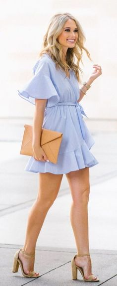 29a89e6fe40  Summer  Outfits   Light Blue Playsuit + Beige Heels Fashion News
