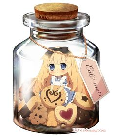 """OHMIGOSH OHMIGOSH OHMIGOSH OHMIGOSH!!! ALICE, WHAT HAPPENED. YOU'RE SO SMALL AND CUTE! (Me,""""I could just eat you up!"""" Alice,"""" WHAT?!"""" Me,""""JK. heheh....""""):"""