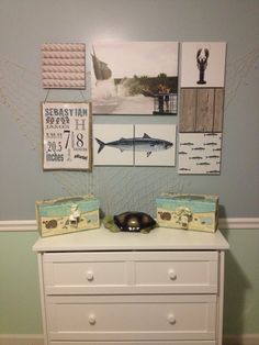 Fishing themed nursery. Would love to get old pictures of family fishing to put up!
