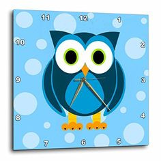 Janna Salak Designs Cute Blue Owl on Light Blue Background Wall Clock 10 by 10Inch *** Find out more about the great product at the image link.