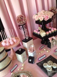 Beautiful Pink Poodle in Paris dessert table! #paris #pink #desserttable #party #poodle