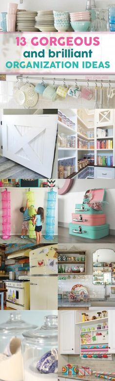 13 Gorgeous DIY organization ideas that brilliantly use ordinary things or inexpensive items.