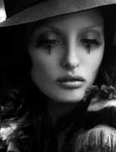 Beautiful Long Lashes With Some Sadness Black and White