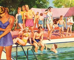 Vintage illustration of men and women in swimsuits at a pool party; screen print, Get premium, high resolution news photos at Getty Images Images Vintage, Vintage Posters, Vintage Prints, Vintage Art, Pin Up, Retro Pictures, Retro Pics, Retro 2, Retro Style