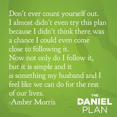 Here's a little motivation for your Tuesday from our own Daniel Plan Rock Star Amber Morris.  #DanielPlan #Motivation