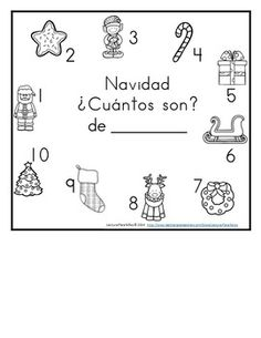 Christmas Counting book 1-10 / Cuenta cosas de navidad 1-10.  Practice counting the objects with one to one correspondence. As students count each object, the students begin to write their numbers 1-10.  Please be sure to see my other counting books in my TPT store! :-) Also, don't forget to leave comments/rating so you can earn TPT rewards towards your next purchase!