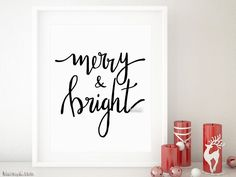 Merry & bright Christmas printable decor in black modern calligraphy