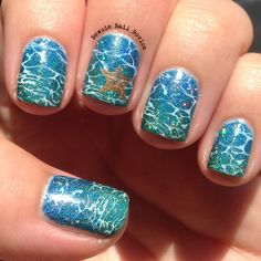 Ocean nails featuring Literary Lacquers Blue Lullaby and Thermofish