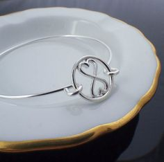 Infinity Heart Circle Sterling Silver Bangle by unkamengifts