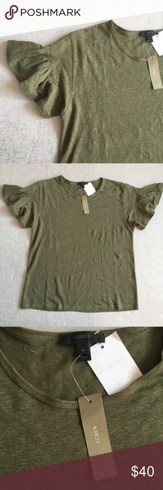 J. Crew Linen Flutter-Sleeve T-Shirt 100% linen. Green color. Cool flutter sleeve. Stock photo for reference not actual color. J. Crew Tops Tees - Short Sleeve