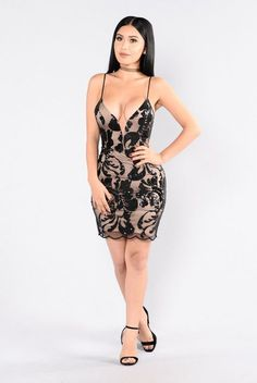 - Available in Black and Blush - Sequin/Mesh Dress - Nude Lining - Knee Length - Adjustable Spaghetti Straps - Wired V Neckline - 100% Polyester