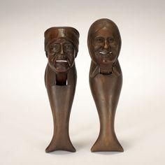 Pair Black Forest carved figural German nutcrackers