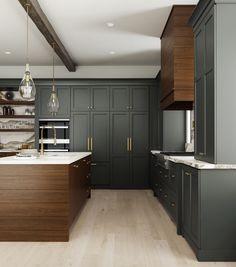 Dark Grey Kitchen Cabinets, Stained Kitchen Cabinets, Dark Wood Kitchens, Modern Farmhouse Kitchens, Home Kitchens, Walnut Cabinets, Urban Farmhouse, Farmhouse Style, Kitchen And Bath Design