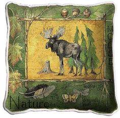 Nature Moose Woven Pillow