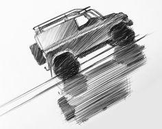 "gashetka: ""1990 | Land Rover Defender 90 |  Sketch by Andreas Van Speybroeck (Lamborghini Design Team) """