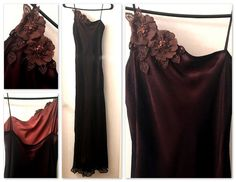 Laundry Shelli Segal Silk Brown Sequin Floral Applique Evening Gown Size 2 | eBay