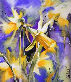 narcissus - flower bright watercolor sunshine light painting sale