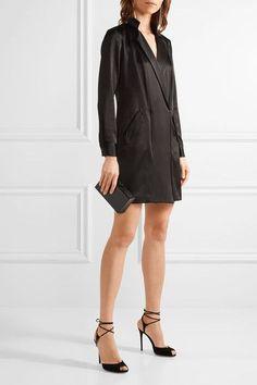Halston Heritage - Wrap-effect Satin-crepe Mini Dress - Black - US