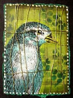 bird in cage ACEO - ATC