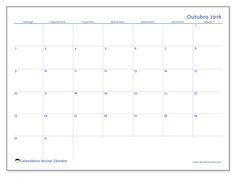 Livre! Calendários para outubro 2016 para imprimir