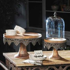 ... Antiquity Collection! Small Wooden and Metal Cake Pedestal. $119.99