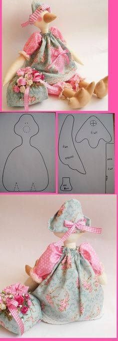 goose cloth doll pattern, so lovely, love the colours of the dress Doll Clothes Patterns, Doll Patterns, Sewing Patterns, Fabric Toys, Fabric Crafts, Doll Crafts, Sewing Crafts, Fabric Animals, Sewing Dolls