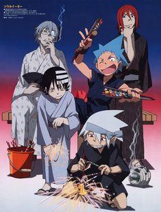 Soul Eater, Black Star, Death the Kid, Sprit, and Stein I Love Anime, Awesome Anime, Me Me Me Anime, Anime Soul, Anime Nerd, Anime Life, Satire, Manga Anime, Manga Boy