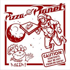 Print image and stick on pizza boxes for Toy Story party!
