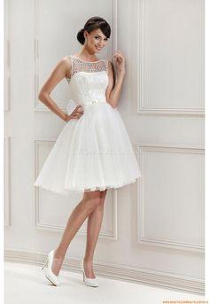Rund-neck Designer Kurze Brautkleider aus Organza mit Spitze