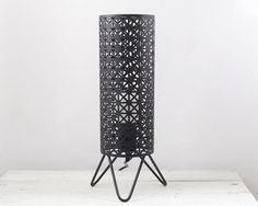 Vintage Lamp - Mid Century Modern Matte Black Cylinder Light with Tripod Hairpin Legs  smilemercantile on Etsy.