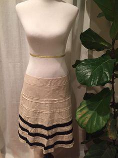 Ann Taylor Loft A-Line Skirt With Black Ribbon Womens Size 10  | eBay