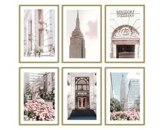 New York City Photography Prints Set of 6 Wall Art Room Decor Modern Art Prints, Wall Art Prints, Positano Italien, New York City, Pastel Home Decor, Teen Bedroom Designs, Pastel House, Travel Wall Art, Thing 1