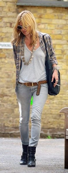 Kate Moss -- reminds me to buy a grey flannel shirt this year