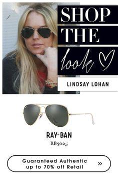 Lindsay wearing #rayban #black #sunglasses.