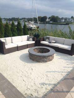 Imagine sitting by the fire with your toes in the sand. Bring the sand to your backyard, with Cambridge Fire Pit Kits. Outside Fire Pits, Cool Fire Pits, Diy Fire Pit, Fire Pit Backyard, Backyard Patio, Backyard Landscaping, Backyard Beach, Backyard Seating, Backyard Ideas