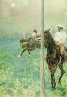 Jockeys avant la course (E. Degas, 1879)