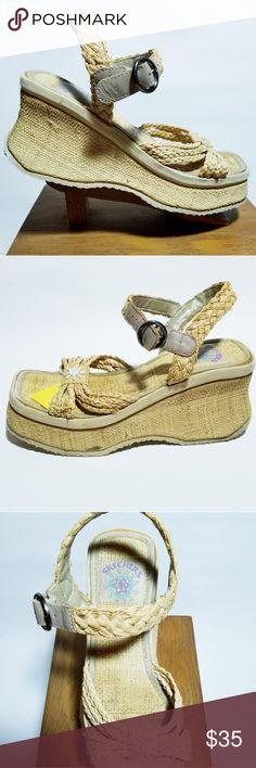 5c98840c0155 Skechers Somethin  Else Platform Sandals US 8 Vtg Somethin  Else Skechers  Women s US 8 Rafia Wedge Platform Sandals EP Thanks for looking!