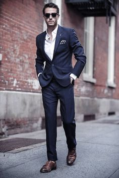 78dc292a666e6 Mens Fashion Inspiration Navy Blue Suit Brown Shoes Styles Without Tie Navy  Suit Brown Shoes,