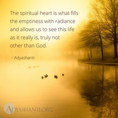 The spiritual heart is what fills the emptiness with radiance and allows us to see this life as it really is, truly not other than God. ~ Adyashanti